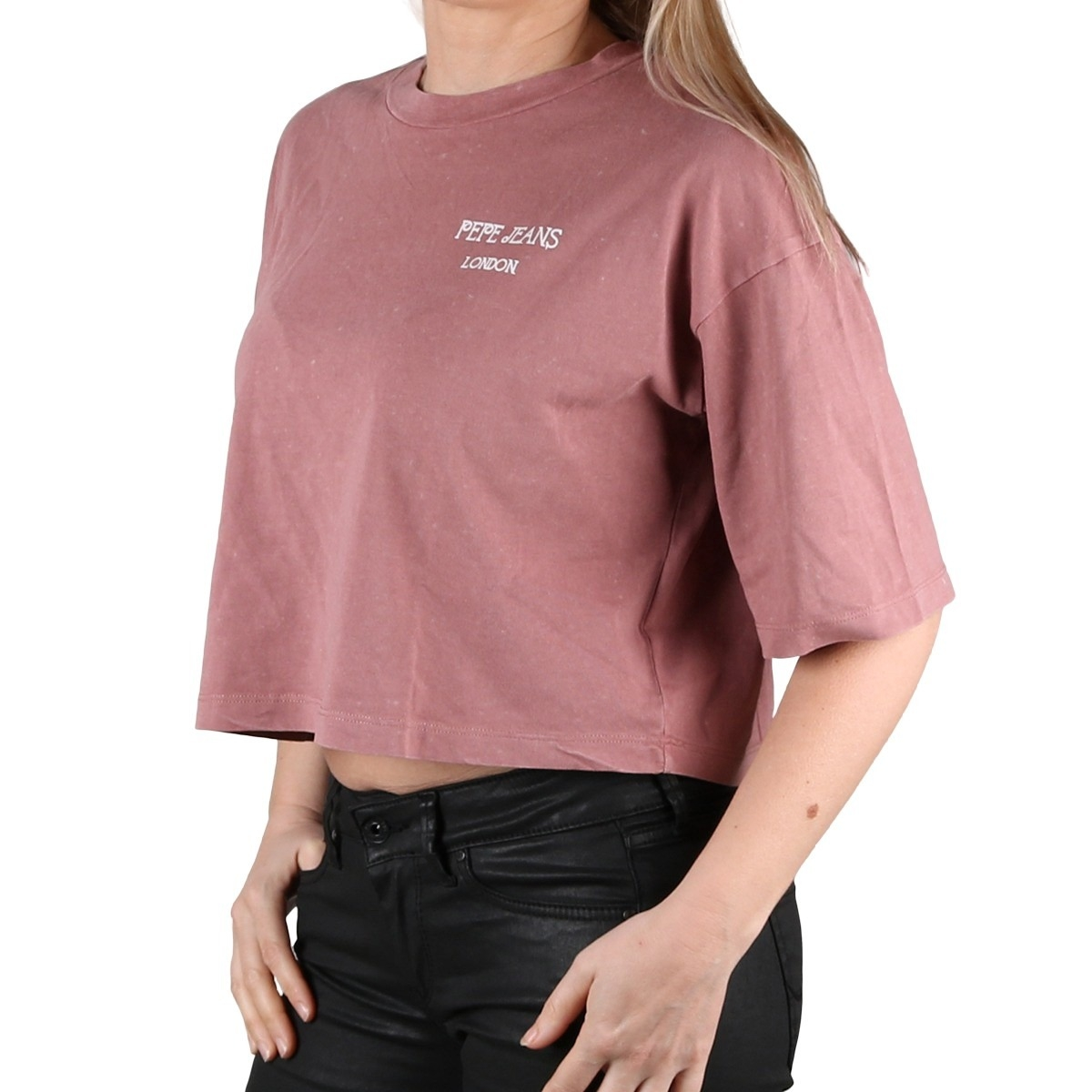 Pepe Jeans Camiseta Laila Washed Pink Rosa Oversize Crop Mujer