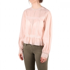 Pepe Jeans Blusa Blanche Powder Pink Crochet Rosa Empolvado Mujer