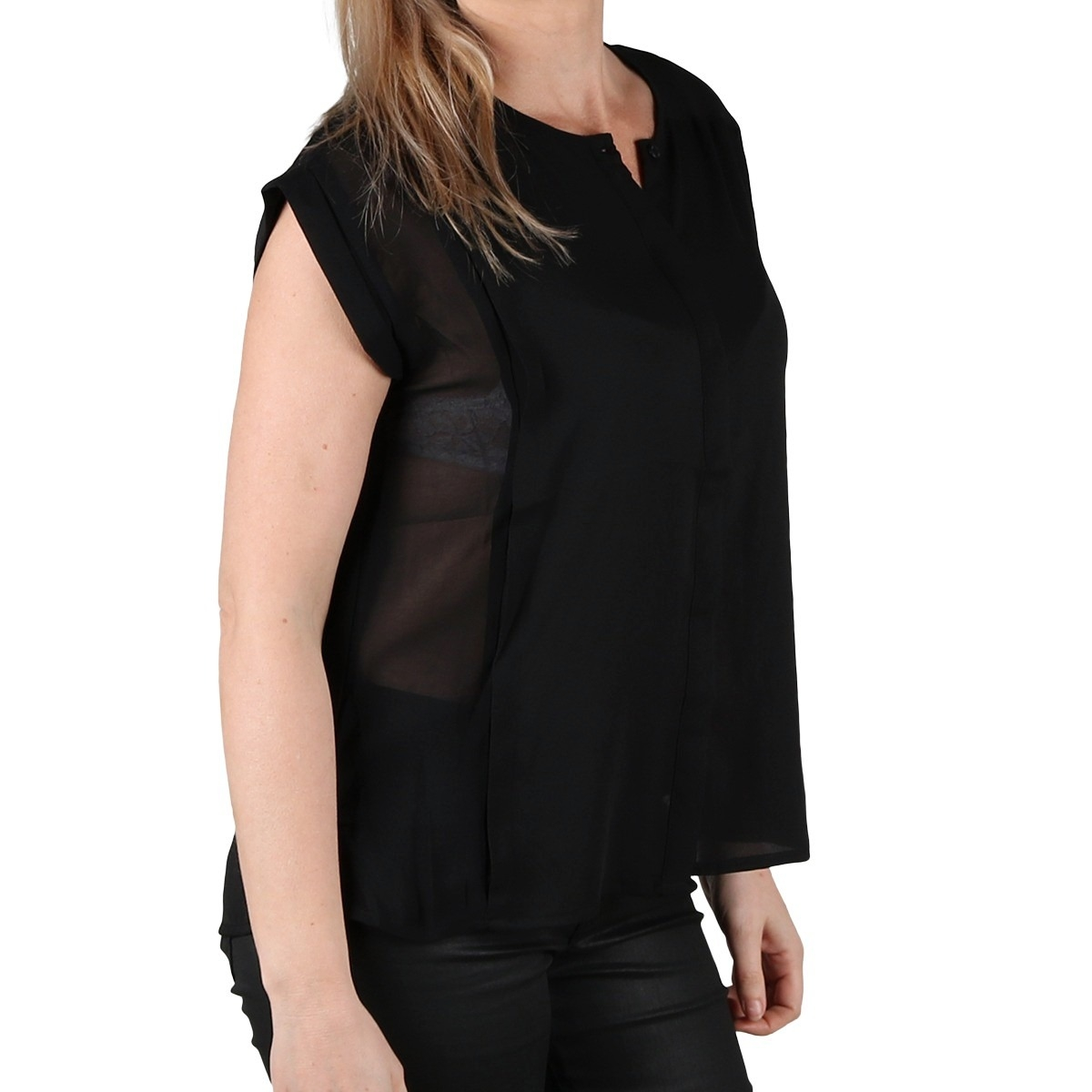 Pepe Jeans Blusa Erin Fluida Black Negro Mujer