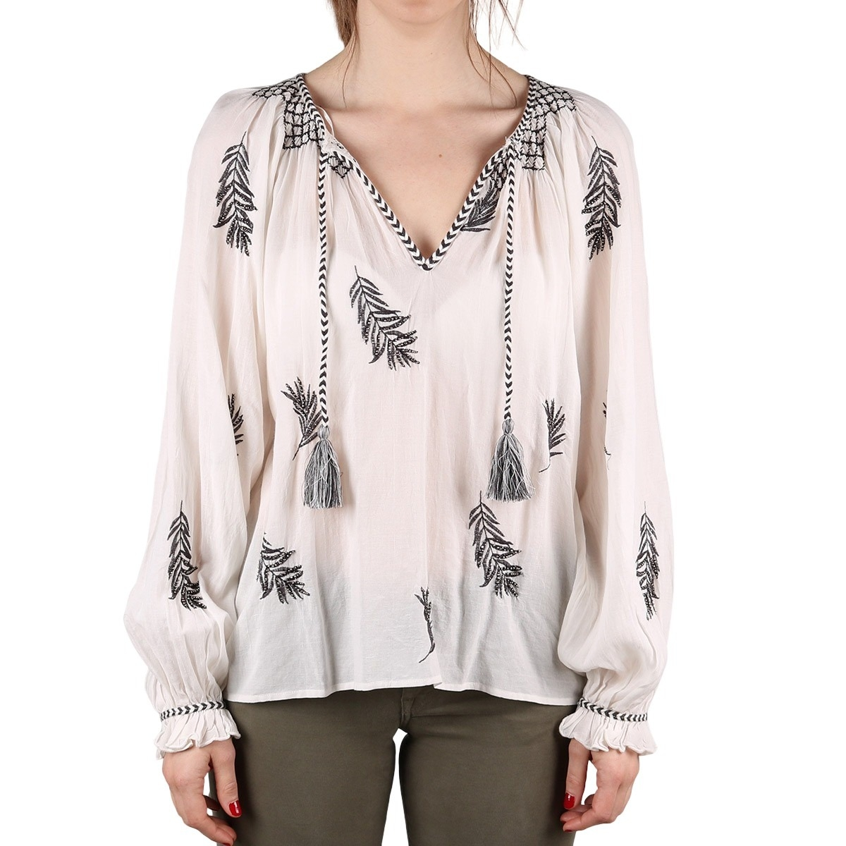 Pepe Jeans Blusa Lisa Champagne Plumas Mujer