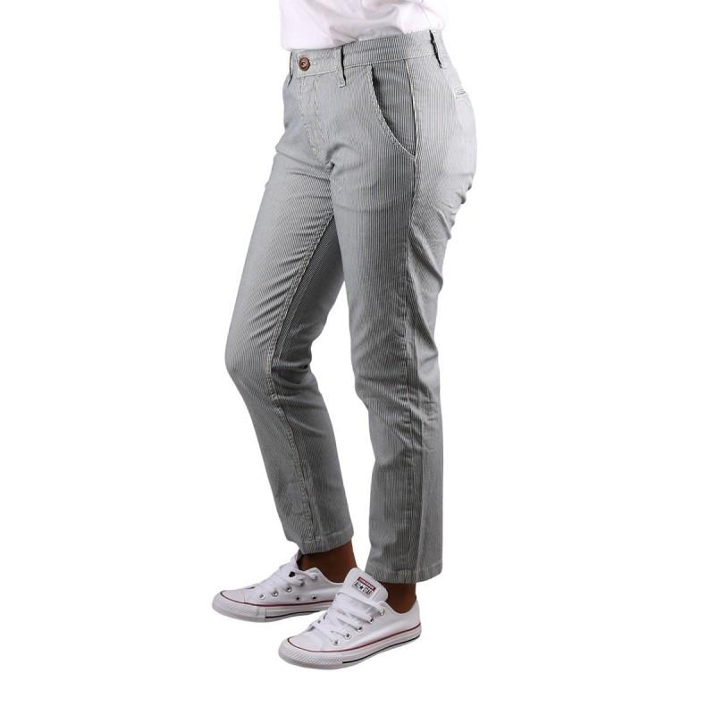 Pepe Jeans Pantalon Chino Maura Stripe Multi Rayas Azul Blanco Mujer