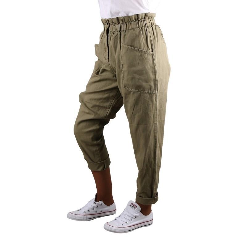 Pepe Jeans Pantalon Recto Paper Bag Lia Thyme Verde Mujer