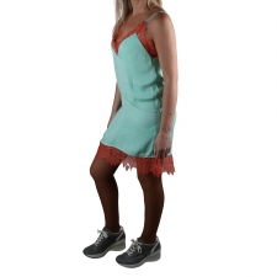 Pepe Jeans Vestido Mini Lingerie Dua Lipa Nicole Glacier Verde Azulado Mujer