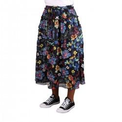 Pepe Jeans Falda Volantes Midi Donna Multi Estampado Floral Negro Azul Mujer