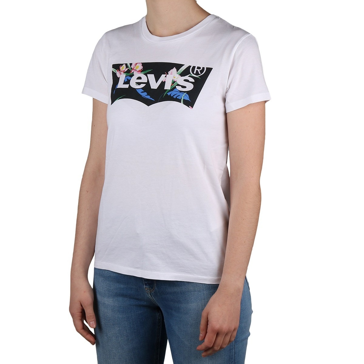 Levis Camiseta The Perfect Tee Neutral Floral Filled Batwing white Blanco Negro Mujer