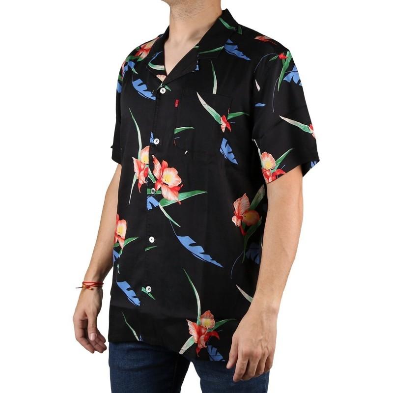 Mierda mecanógrafo Filadelfia  Levis Camisa Cubano Shirt Negro Flores Multi color Andres Caviar Hombre