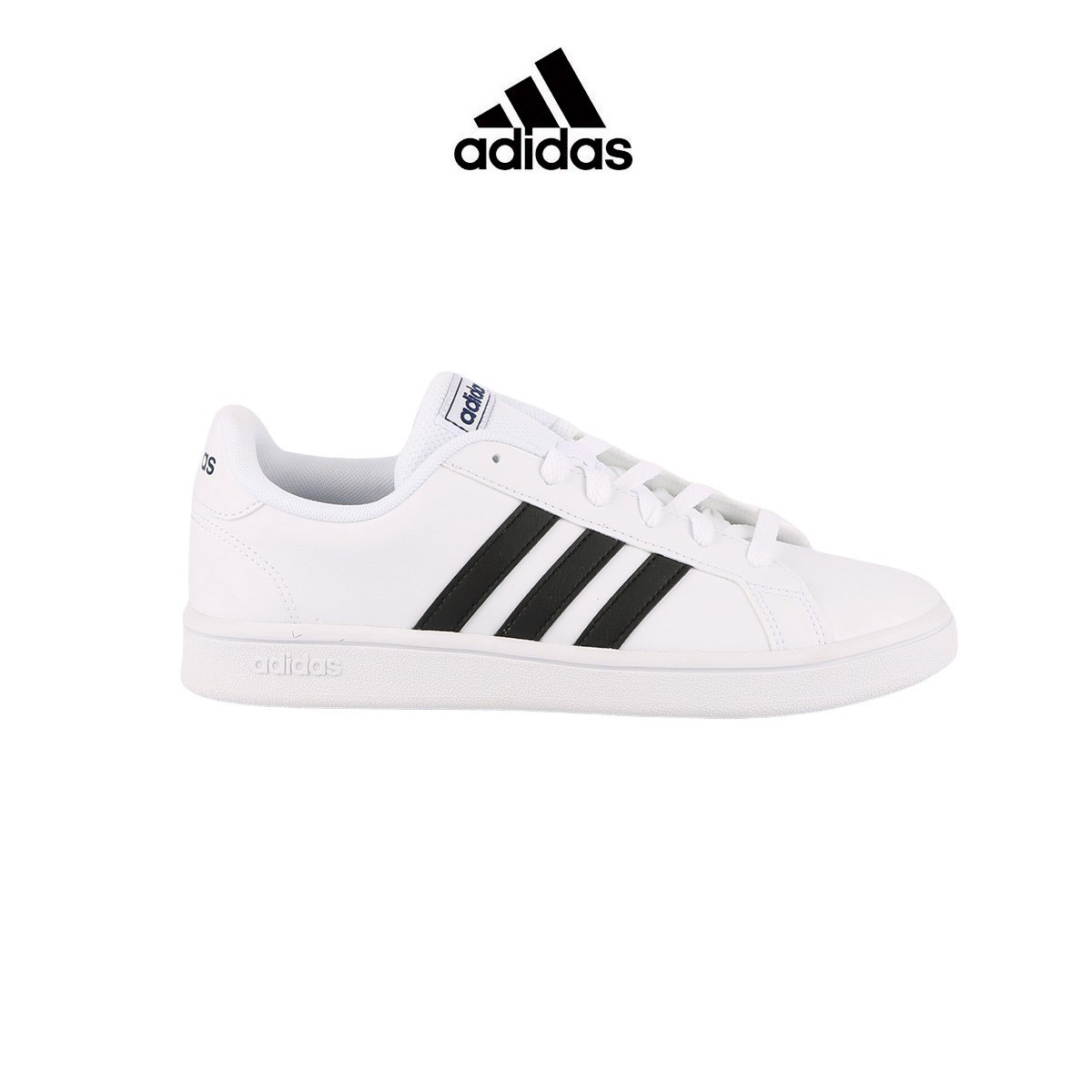 Adidas zapatilla Grand Court Base White Black Blanco bandas negras Hombre