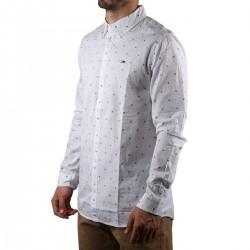 Tommy Hilfiger Camisa Blanca Bordado Flores Hombre