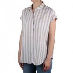 Tommy Hilfiger Camisa de manga corta rayas Slit Beige Mujer
