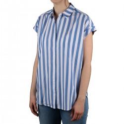 Tommy Hilfiger Camisa de manga corta rayas Blue Azul Mujer