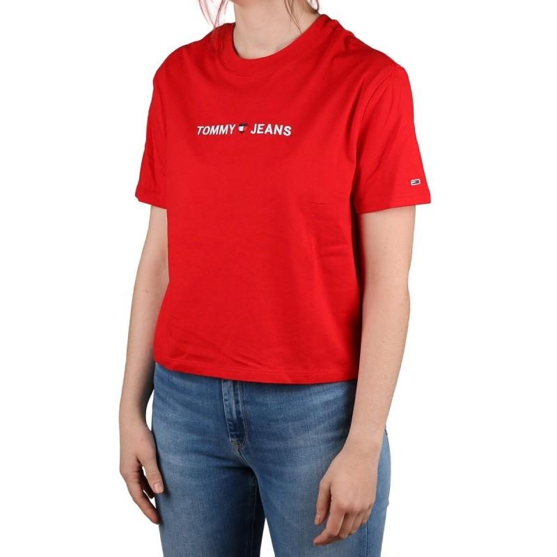Tommy Hilfiger Camiseta Cropped Algodon Organico Racing Red Rojo Mujer