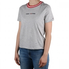 Tommy Hilfiger Camiseta Cuello Rayas Gris Rojo Mujer