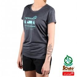 Ternua camiseta KITA Whales Grey Gris Azulado Mujer