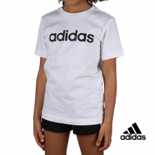 Adidas Camiseta Essentials Linear Logo White Black Blanco Niño