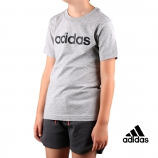 Adidas Camiseta Essentials Linear Logo Grey Black Gris Niño