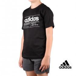 Adidas Camiseta Logo Brilliant Basics Black Negro Niño