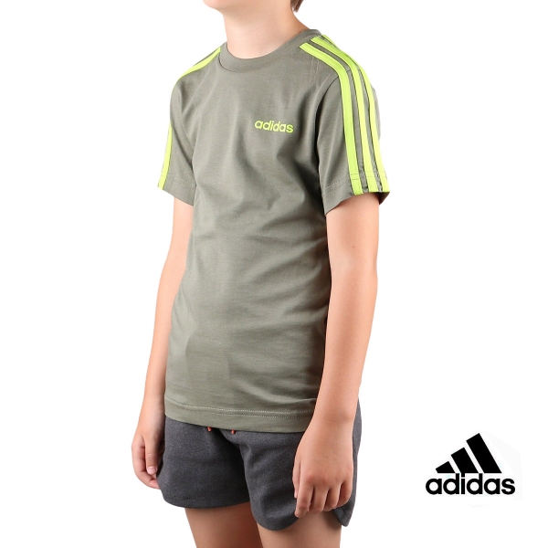 Adidas Camiseta Essential 3 bandas JR Legacy Green Semi Solar Slime Kaki Lima Niño