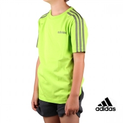 Adidas Camiseta Essential 3 bandas JR Semi Solar Slime Legacy Green Lima Kaki Niño
