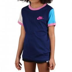 Nike Camiseta Sportswear Ringer Nvlty Futura Azul Rosa Niño