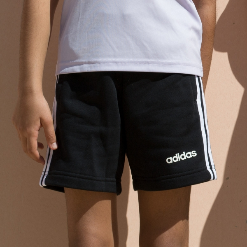Adidas Bermuda Essentials Knit 3 bandas negro Niño