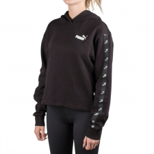 Puma Sudadera con capucha Amplified Cropped Hoodie Black Negro Mujer