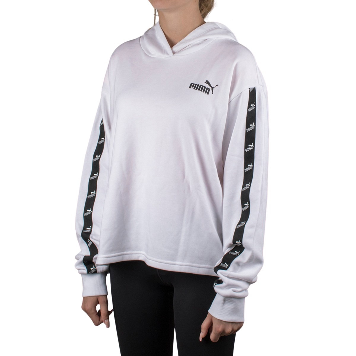 Puma Sudadera con capucha Amplified Cropped Hoodie White Blanco Mujer