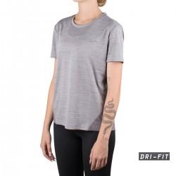 Nike Camiseta Miler Gris humo Jaspeado Mujer