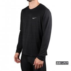 Nike Camiseta Dri-FIT Miler Manga Larga Negro Hombre