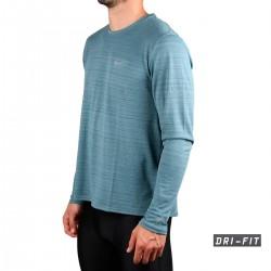 Nike Camiseta Dri-FIT Miler Manga Larga Azul Ozono Hombre