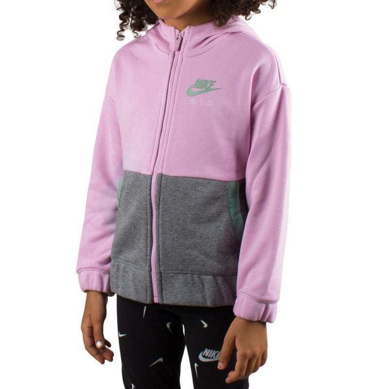 Nike Sudadera Air Full zip Hoodie Rosa Gris Niño