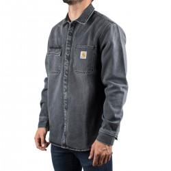 Carhartt Camisa Vaquera Salinac Shirt Jac Black Mid worn wash Negro Hombre