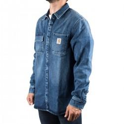 Carhartt Camisa Vaquera Salinac Shirt Jac Blue Mid worn wash Azul Hombre