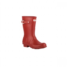 Hunter Bota Original Short Military Red Rojo Mate Mujer
