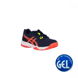 Asics Zapatilla GEL-PADEL PRO 4 GS Peacoat Flash Coral Azul naranja flúor Niño