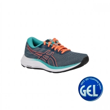 Asics Zapatilla GEL-EXCITE 7 Magnetic Blue Sunrise Red Agua Marina Naranja Mujer