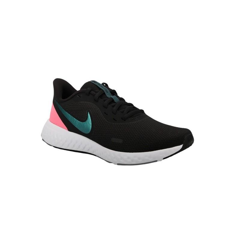 Nike Zapatilla Revolution 5 Black Atomic Teal Negro Rosa Mujer