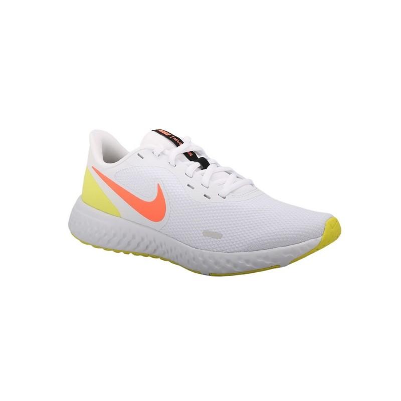 Nike Zapatilla Revolution 5 White Bright Mango Blanco Fluor Mujer
