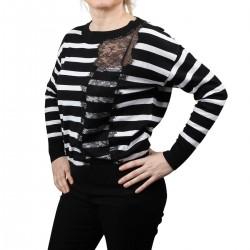 Guess Jersey punto Knitwear MARIA BLK WHT Rayas negro blanco Mujer