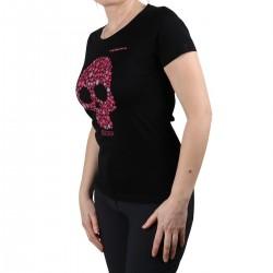 Trangoworld Camiseta ALP Boulder Negra Calavera Rosa Mujer