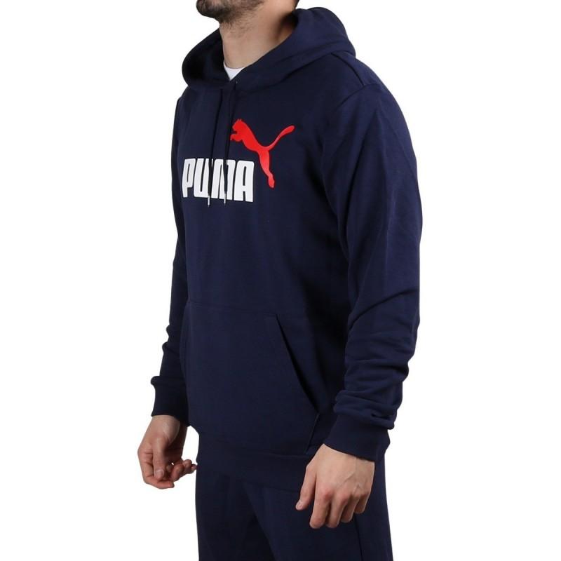 Puma Sudadera Essentials+ 2 Col Big Logo Hoodie Training Peacoat Azul Hombre