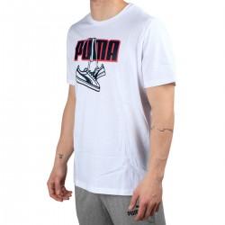 Puma Camiseta Sneaker Inspired Tee White Blanco Rojo Hombre
