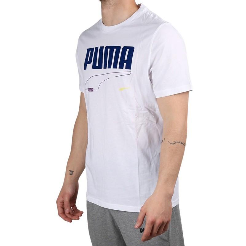 Puma Camiseta Rebel Tee White Blanco Azul Hombre