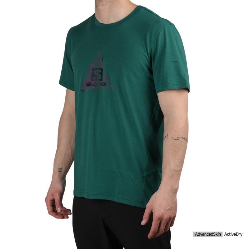 Salomon camiseta EXPLORE BLEND Pacific Verde azulado Hombre