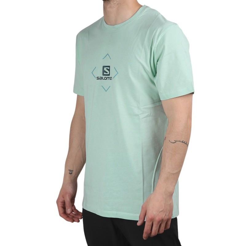 Salomon camiseta SALOMON COTTON Harbor Gray Menta Hombre