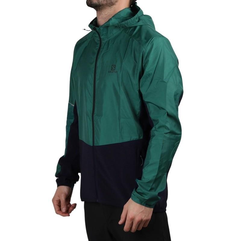 Salomon chaqueta running AGILE FZ HOODIE Pacific Verde Marino Hombre