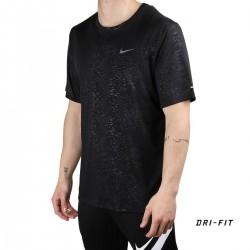 Nike Camiseta NK RN DVN DF MILER SS EMBSS Print Black Negro Hombre