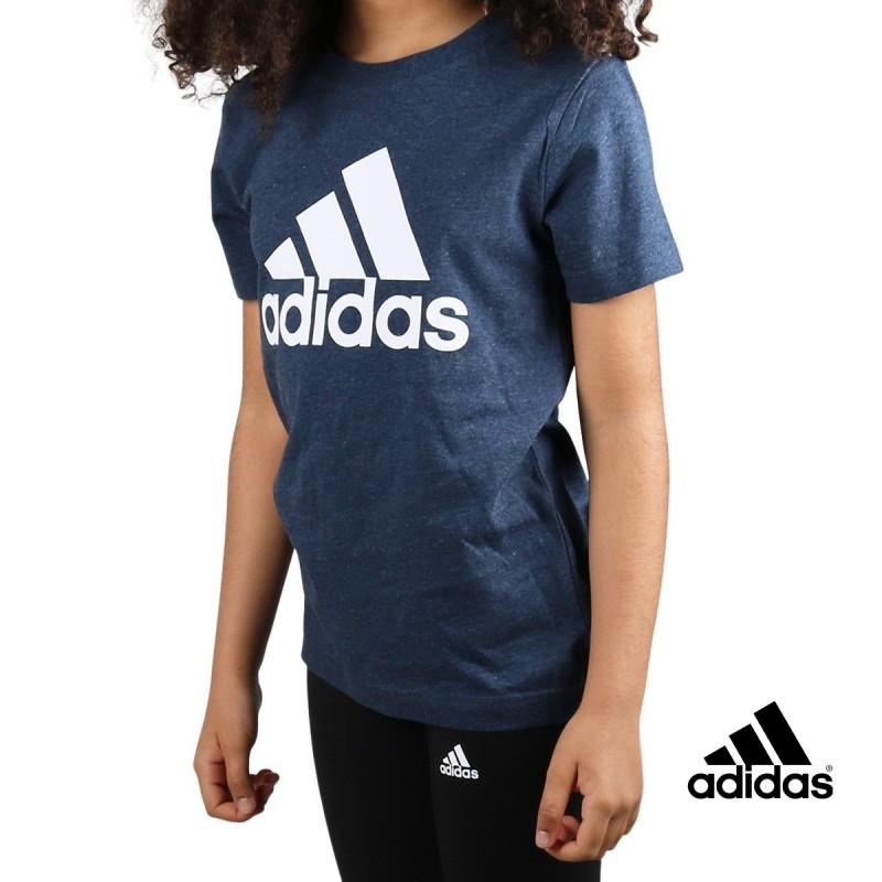 ADIDAS Camiseta Essentials Logo Crew Navy Mel Azul jaspeado Niño