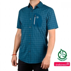 Ternua Camisa Athy Shirt Dark Lagoon Checks Azul Cuadros Hombre