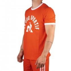 Le Coq Sportif Camiseta ESS Tee SS N°3 M orange/new opt.white Naranja Blanco Hombre