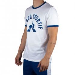 Le Coq Sportif Camiseta ESS Tee SS N°3 M new optical white/bleu Blanco Azul Hombre